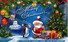 christmas postcard santa claus christmas tree with decorations decorations stars gifts for