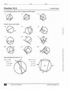 geometry worksheet inscribed angles 754 practice 12 3 inscribed angles 10th 12th grade worksheet lesson planet