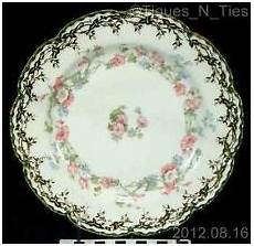 Limoges Ls S Molded Blue Hp Gold Floral Relief 8 Inch