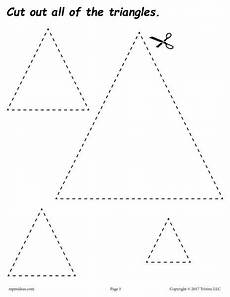 free triangles cutting worksheet triangles tracing