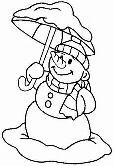 mr snowman on with umbrella coloring page