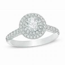1 ct t w diamond double frame engagement ring in 14k