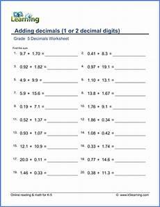 decimal worksheets grade 5 7041 grade 5 decimals worksheets adding decimals 2 digits k5 learning