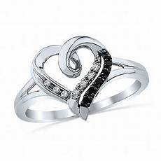 enhanced black and white diamond accent heart promise ring in sterling silver promise rings