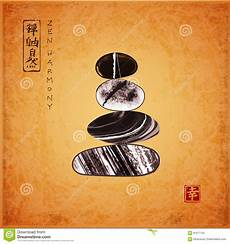 pebble zen stones balance vintage background traditional ink painting sumi e