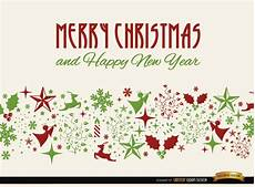 merry christmas card with elements seamless pattern vector free download