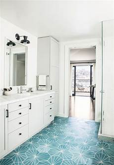 turquoise blue cement tiles with light gray bath vanity contemporary bathroom