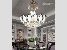 Lotus Flower Glass Gold Led Crystal Chandeliers Lights