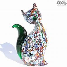 Cat Millefiori Green Original Murano Glass Omg