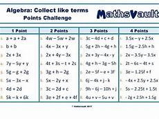 algebra like terms worksheets year 7 8714 algebra collecting like terms points challenge worksheet teaching resources
