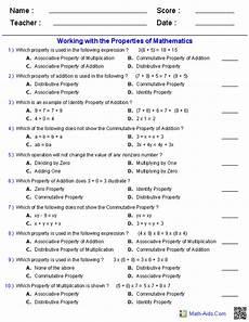 properties worksheets properties of mathematics worksheets