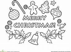 merry christmas coloring page worksheet education com