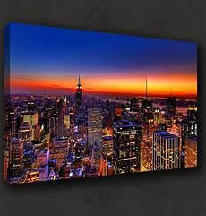 new york manhattan sunset skyline canvas print poster