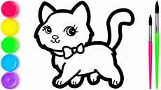 Cara Menggambar Dan Mewarnai Kucing Lucu Warna Warni Untuk