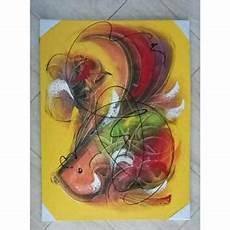Lukisan Abstrak Motif Ikan Kuning Minimalis Shopee Indonesia