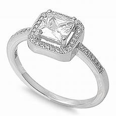 s clear cz halo wedding ring new 925 sterling silver band sizes 4 12 ebay