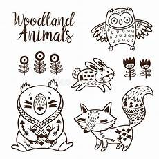woodland animals coloring pages 17187 decorative ornamental woodland animals vector set stock vector illustration of ethnic