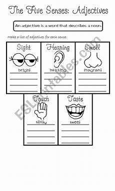 the five senses worksheets 12571 the five senses adjectives esl worksheet by rmmd
