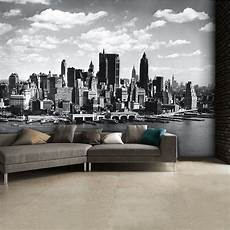 black and white new york city skyline wall mural 315cm