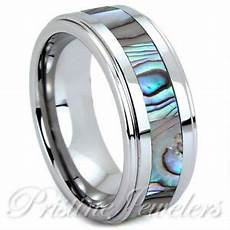 tungsten carbide abalone shell inlay silver mens wedding band jewelry ring ebay
