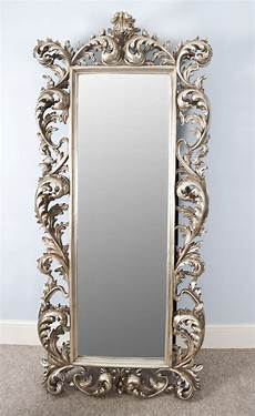 large length silver rococo cheval mirror mercure