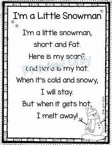 i m a snowman winter poem for kindergarten