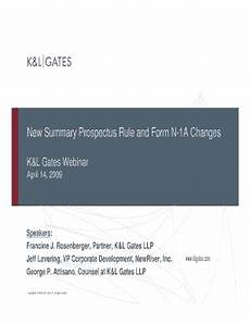 fillable online new summary prospectus rule and form n 1a