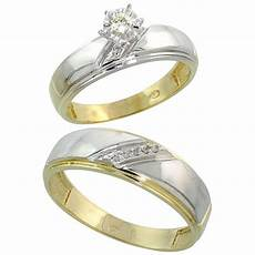buy gold plated sterling silver 2 piece diamond wedding engagement ring set for him and her 5