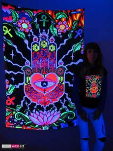 hamsa eye hand psychedelic art uv blacklight tapestry wall hanging backdrop deco ebay