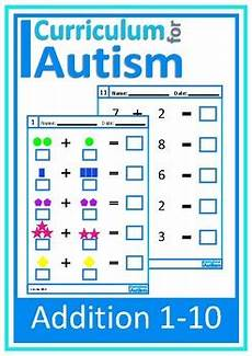 fraction math worksheets 4027 addition 1 10 visual worksheets autism special education tpt