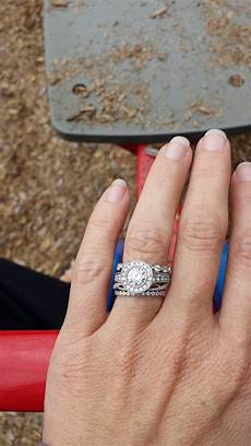 looking for ideas for wedding band with bezel engagement ring