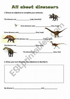 dinosaur adjectives worksheets 15276 dinosaurs working with adjectives 1 esl worksheet by lm2014