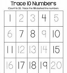 trace numbers 1 20 kindergarten number worksheets