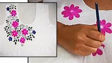 designer painted flower design kurti neck free painting fabric youtube