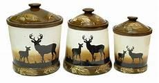 rustic kitchen canister sets silhouette deer 3pc ceramic canister set antler kitchen