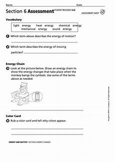 energy and matter section 6 assessment energy changes physics worksheet printable pdf download