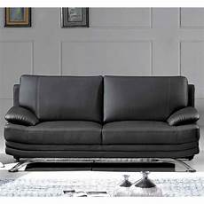 Deco In Canape Cuir Noir 3 Places Romeo Can Romeo