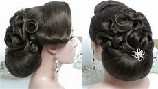 bridal hairstyle for hair tutorial wedding bun updo step by step youtube