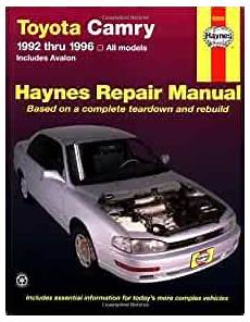 auto repair manual free download 1993 toyota camry instrument cluster toyota camry automotive repair manual all toyota camry and avalon models 1992 thru 1996 haynes