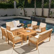 casual outdoor patio furniture 8 pc stained finish