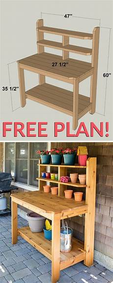 how to build a potting bench free plan home design