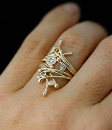 winter branches diamond and gold alternative engagement or