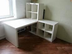 Kallax Mit Schreibtisch - ikea kallax desk and shelving units including work lights