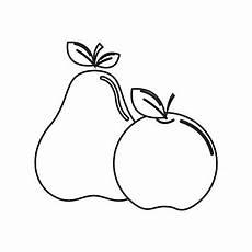 Malvorlage Apfel Und Birne Silhouette Birne Und Apfel Obst Symbol Lager Stock Vektor