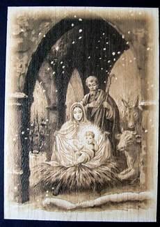 weihnachtskarte aus holz mit kuvert hl familie