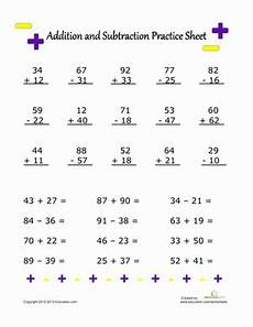 2nd grade math worksheet subtraction and addition addition and subtraction practice worksheet education