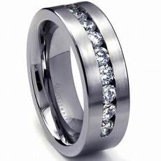 8 mm men s titanium ring wedding band with 9 large channel