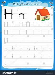 practice letter h worksheets 24499 writing practice letter h printable worksheet stock vector 232965118