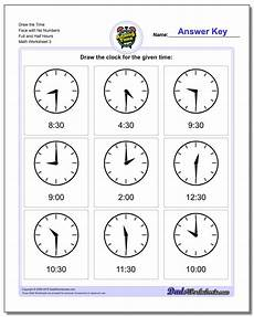 telling time worksheets 20437 and half hours