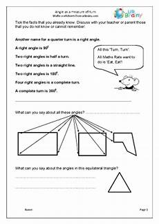 angle as a measure of turn geometry shape maths worksheets for year 4 age 8 9